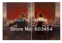 Wholesale Cheap Framed Canvas Art - Wholesale cheap 100% Handicrafts oil painting Pop Art the cigar bar Men and women 24x36(inchs)x2 (no framed) & Free Shipping