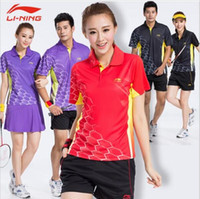 Wholesale White Collared Shirt Grey - New Li-Ning Badminton t-shirts suits, table tennis shirts collar short sleeve blouse, polyester quick-drying shorts and T-shirts M-4XL