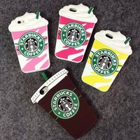 Iphone6 ​​6S 3D Starbucks tasse à café Design Gel souple en caoutchouc Silicone Housse pour iphone5S iphone4S i6 plus 5.5