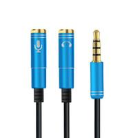 divisor de auriculares y cable de 3.5mm al por mayor-Alta calidad más reciente 2 en 1 3.5 mm Jack de audio para auriculares y micrófono Cable estéreo para hombre y mujer adaptador de audio Splitter Connecter