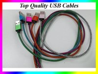Wholesale Usb Snake - 1M 3ft Mix Color snake pattern Braided Fabric Micro USB2.0 Cord Data Sync micro usb cable For Android xiaomi