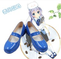 Wholesale Cute Blue Christmas Shoes - Wholesale-Is the order a rabbit? Kafuu Chino blue cute lolita hand made Cosplay Boots shoes shoe boot #NC742 Halloween Christmas