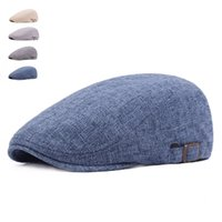Wholesale Blue Beret For Men - Beret Cap Sun Hats for Men Women Casual Newsboy Spring Summer Caps Woman Cotton Linen Caps Flat Brim Adjustable