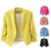 Wholesale blazers wholesale - Hot Sale Women's Blazer Jackets Spring New Solid Color Suit Ruched Sleeve Slim-Fit Thin Coat Cardigan Tops Drop Shipping LC350