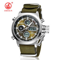 Wholesale Mens Canvas Watches - New Arrival OHSEN Brand Fashion LCD Digital Quartz Man Watch Canvas Band 30M Waterproof Business Mens Watches Green Military Wristwatch Gift
