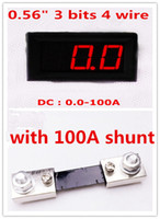 Wholesale Mini inch DC0 A bits Red LCD display Digital Ammeter Panel Amp Gauge Current Monitor with DC A Shunt