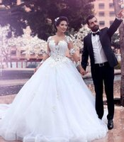 Wholesale simple layered wedding dresses for sale - Group buy 2017 Africa Long Sleeves Appliques Ball Gown Wedding Dresses Vintage Layered Tulle Bridal Gowns Plus Size Custom Made Wedding Dress