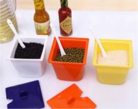Wholesale Cruet Sets - Free shipping 3pcs set Color Seasoning Pot Spice Rack And Cruet Quality Goods (72 sets lot)