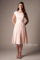 mütevazı mercan gelinlik elbiseleri toptan satış-Mercan Dantel Kısa Mütevazı Gelinlik Modelleri Cap Kollu Scoop A-line Vintage Düğün Konuk Elbiseleri Gayri Onur Hizmetçi Elbiseler