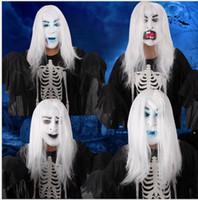 apoyos de bola de mascarada al por mayor-Halloween Horror Masks Masquerade Mask Mask para Hombres Errorist Party Supplies Props Látex Fantasma White Hair Mask para Mujeres Bola Traje de la Venta Caliente