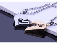 пазл для любовников оптовых-Пара Половина сердца ожерелье пара продажа титана стали головоломки любовь пара для пары любителей