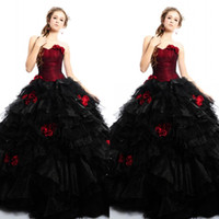 Wholesale Dropped Waist Sweetheart Neckline - Gothic Red Black Wedding Dresses Sweetheart Neckline Drop Waist Tiered Puffy Skirt Colorful Ball Gown Wedding Dresses with Hand-made Flowers