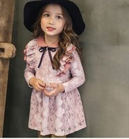 Wholesale Long Dress Lace Overlay - 2016 Winter Vintage Lace Overlay Princess Girls Ruffles Long Sleeve Dresses Children Girls Pink Yellow Party Velvet Dresses B4284