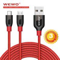 rote zelle handys großhandel-WEWO Braid Micro USB Kabel Großhandel 1 Mt 2.4A Schwarz Rot Safe Handy-Ladekabel Für Handys Handys