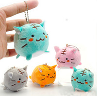 Wholesale Wholesale Tiger Keychain - 10pcs lot Random COLOR Kawaii CAT TIGER DOLL Plush Stuffed TOY Keychain DOLL Gift TOY BAG Pendant TOY Wedding Bouquet Gift