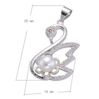 Cubic Zirconia Micro Inlay Brass Pendant Swan Com Pearl Platinum Plated Niquel Oco Lead Cadmium Free 25x16mm Hole: 3.5mm 10PCS / Lot