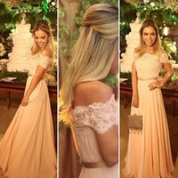 Wholesale Fabulous Evening Gowns - Fabulous Off the Shoulder Prom Dress Long Formal Evening Party Gowns Lace Appliques Full Length Cheap Bridesmaid Dress with Bow Sash