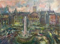 Enmarcado Dam Square, Amsterdam, Holland City VIEWS, pintura al óleo abstracta pintada a mano pura del arte en Canvas.Multi sizes