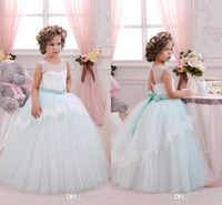 Wholesale Girls Fancy Gold Dresses - 2016 New Pretty Mint Ivory Lace Tulle Flower Girl Dresses Birthday Wedding Party Holiday Bridesmaid Fancy Communion Dresses for Girls BA3107