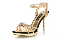 Wholesale Party Golden Sandals - Fashion Summer 2016 Sexy Peep Toe Buckle Rhinestone Ladies High Stiletto Heels Sandals Shoes Woman Party Sandals Silver Golden