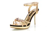tacón alto de plata al por mayor-Moda verano 2016 Sexy Peep Toe Hebilla Rhinestone Ladies High Stiletto Heels Sandalias Zapatos Mujer Partido Sandalias de plata Dorado