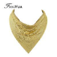 FANHUA Punk Style Gold-Color Black Alloy Tie Shape Collar Colar Fashion Statement Choker Necklace Acessórios Femininos