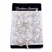 joyas de barrena al por mayor-Fashion Mix New Silver Pearl Rhinestone Broches de boda para mujer Conjunto de perlas Auger Pequeño Diamante Broche Cadena Bufandas Hebilla Broches Joyería
