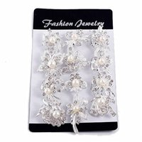 Wholesale Mixed Jewelry Brooches - Fashion Mix New Silver Pearl Rhinestone Female Wedding Brooches Pearl Set Auger Small Diamond Brooch Chain Scarves Buckle Brooches Jewelry