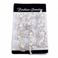 broches en chaîne achat en gros de-Fashion Mix New Silver Pearl Rhinestone Femme Mariage Broches perles d'Auger Broche Small Diamond Chain Foulards Buckle Broches Bijoux
