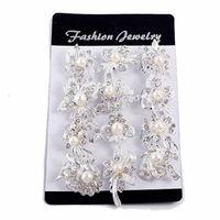 ingrosso gioielli della coclea-Fashion Mix New Silver Pearl Rhinestone Spille da sposa femminile Pearl Set Auger Small Diamond Brooch Chain Sciarpe Buckle Brooches Jewelry