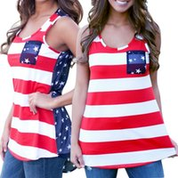 Wholesale Blouses American Flag - Wholesale-Fashion Women Summer Sexy Sleeveless Tops American USA Flag Print Stripes Tank Top for Woman Blouse Vest Shirt E3504