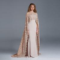 Wholesale Mermaid Dress Lace Coat - 2016 Mermaid Lace Muslim Evening Dress Robe de Soiree Courte High Neck Modest Dubai Kaftan with Coat Women Formal Dresses Gown