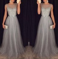 Wholesale pink sash teen dress resale online - Modest Prom Dress Long Unique Beading Ribbon Sash Grey Dress For Teens Plus Size Tulle Evening Formal Party Gowns