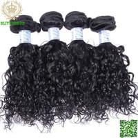 doğal gevşek kıvırcık saç uzantıları toptan satış-Hint Bakire Saç Gevşek Kıvırcık İnsan Saç Atkı 4 Adet / grup Saç Demetleri Doğal Renk İnsan Saç Stokları Uzatma Stokları