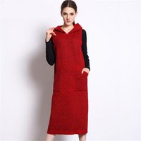Wholesale Hooded Vest Dress - Winter Knitted Dress Pockets Casual Long Dress for Women Sleeveless Vest Hooded Neck Loose Knitting Sweater Dresses Vestidos dresses