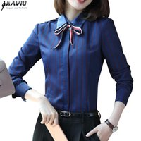 Wholesale ladies office wear blouses - 2017 New fashion women stripes shirt OL autumn long sleeve formal slim chiffon blouses office ladies work wear plus size tops