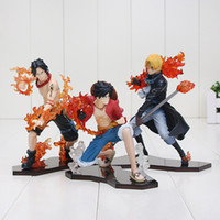 3pcs / mis One Piece Luffy Attaque Styling + Sabo + Ace PVC Figurines de collection Modèle Jouets gros
