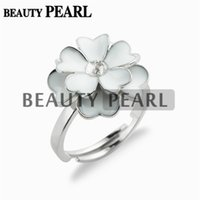 Wholesale White Rings Blanks - 5 Pieces White Flower Cluster Ring Pearl Settings 925 Sterling Silver Blanks Ring Base for DIY Making