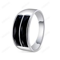 Wholesale Pole South - Brand Cason Top Quality Women Elegant Simple Black Double Pole Rings Silver Plated Black Clour Drop Shipping RJ-0053