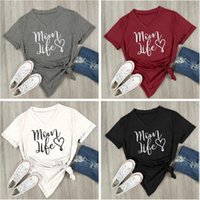 Wholesale Hearts Blouses - Mom Life Heart Letter Printed V-Neck T-Shirt Short Sleeve Top Blouse Casual Shirt Round Neck Tops