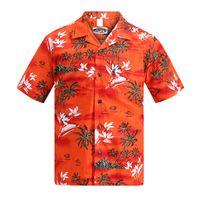 Wholesale Sleeve Shirts Men Orange - Wholesale-2016 Summer Cotton Hawaii Holiday Beach Shirt Men Casual Short Sleeve Printed Shirt Plus Size Loose Tops US Size Orange W445