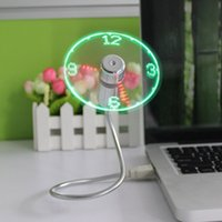Wholesale Led Colored Watches - Wholesale- 2017 USB Fan Watches LED Mini Clock Display Real Time Clock Timing Luminous Fan Night Light Lamp Wrist Watch Summer Must