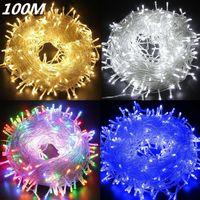led fairy net lights toptan satış-10 M 20 M 30 M 50 M 100 M LED Dize Peri Işık Tatil Veranda Noel Düğün Dekorasyon AC110V 220 V Su Geçirmez dış ışık çelenk