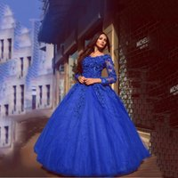 Wholesale Dimond Beads - Exquisite Royal Blue Prom Ball Gown Dimond Beads Flowers Full Length Quinceanera Dresses Lace-Up Long Sleeves Evening Gowns