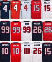 Wholesale Mens Sports Jerseys - Elite Mens 4 Deshaun Watson Jerseys 99 J.J. JJ Watt 10 DeAndre Hopkins 15 Will Fuller 26 Lamar Miller Sports Stitched Jerseys