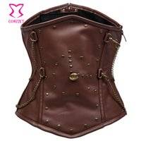 Wholesale Brown Leather Underbust - Wholesale-Brown Leather Steel Boned Corset Waist Training Underbust Corsets Steampunk Corset For Men Waist Trainer Bustier Gothic Clothes