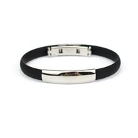"""Wholesale Men S Bracelets Stainless - Wholesale-Stainless Steel Bracelets for Men Cuff Silicone Bangle Men""""s Jewelry Amazing Mar 25"""