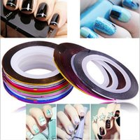 Wholesale Gold Nail Tape - New 1 Set 30 Colors Nail Art Scrub Metal Gold Silver Striping Tape Line for Nails Decorations DTY Decal Self-adhesive Tools Manicure Tools