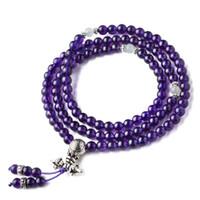 cuentas violetas al por mayor-Violeta Deep Purple Crystal 108 Beads Beads pulsera de la joyería