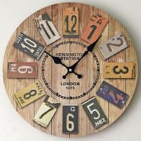 relojes de pared de madera rústica al por mayor-Reloj de pared al por mayor-Hecho a mano 3D retro rústico arte de lujo decorativo de madera vintage reloj de pared grande en la pared para regalo MK41